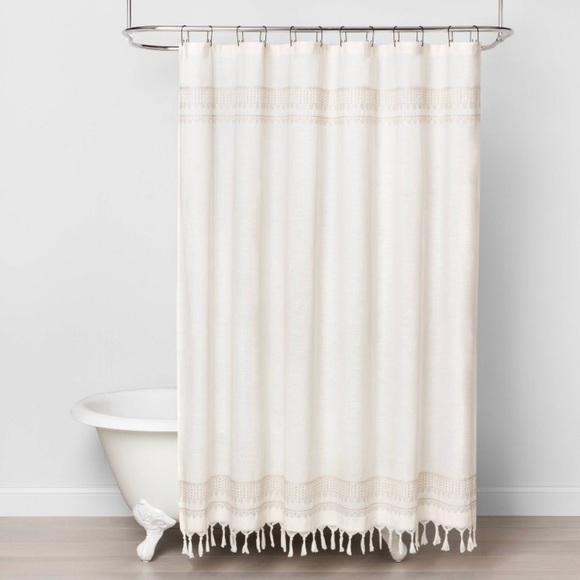 NEW Hearth & Hand Embroidery Shower Curtain